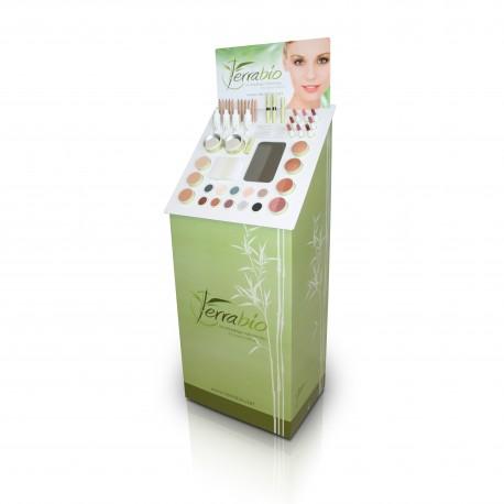Présentoir de sol pour gamme de maquillage et soins du corps