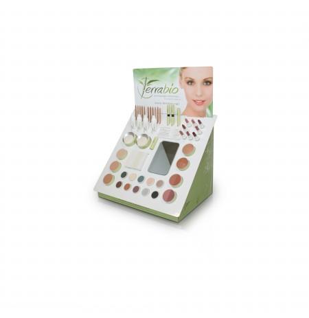 Présentoir d'une gamme de maquillage et soin du corps